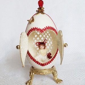 Vintage Goose Egg Diorama on Gold Pedestal